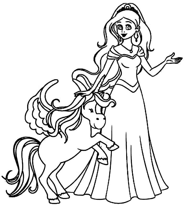 Desenho de unicórnio e princesa para píntar