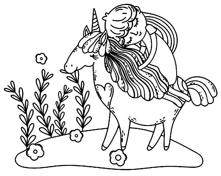 Desenho de unicórnio e princesa para colorir