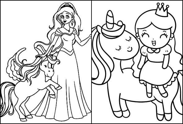 Desenhos de princesa e unicórnio para colorir