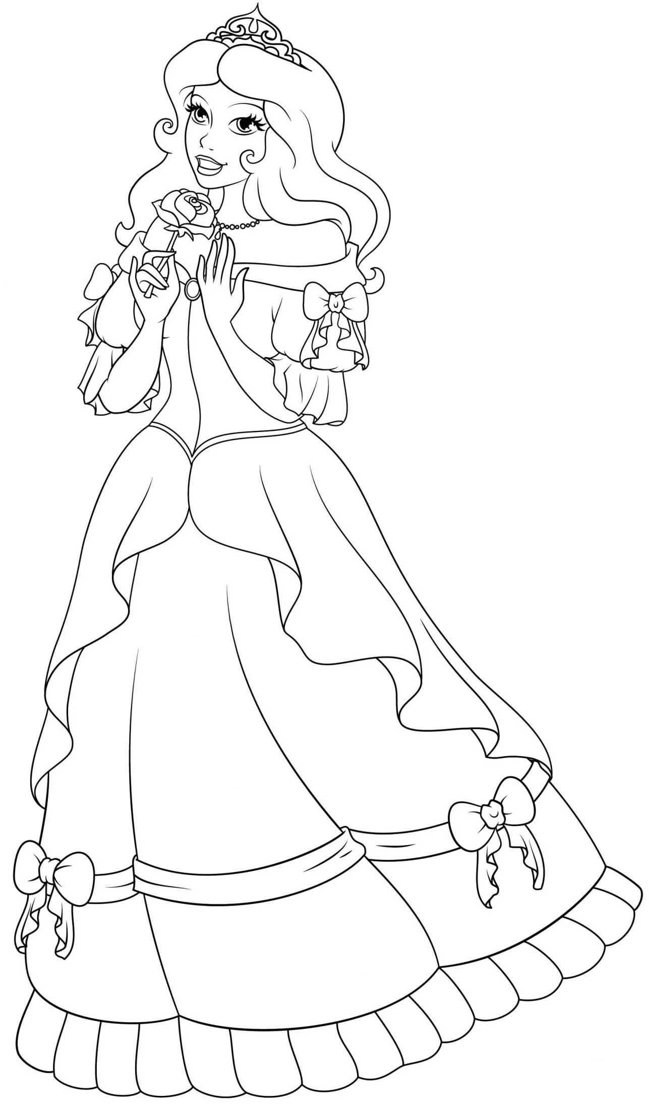 Lindo desenho de princesa para colorir