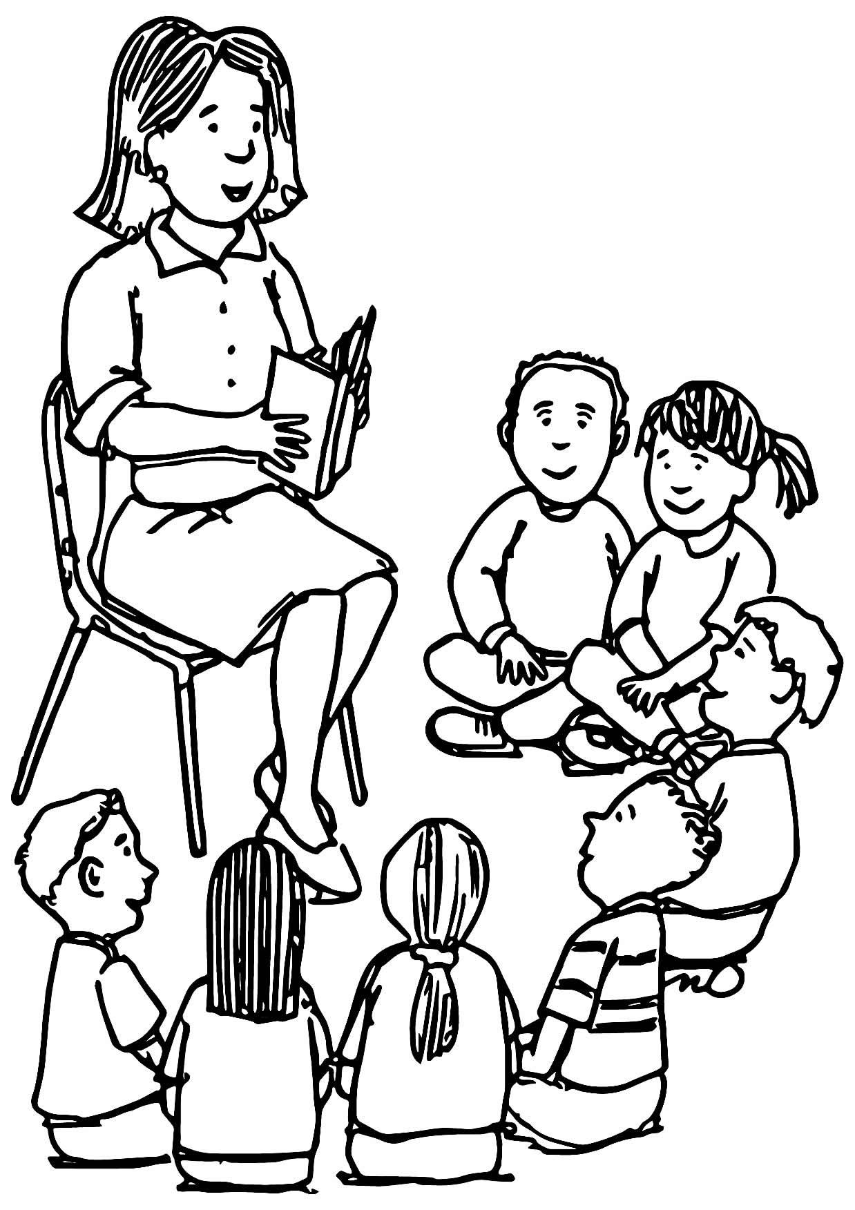 Imagem de professora para colorir