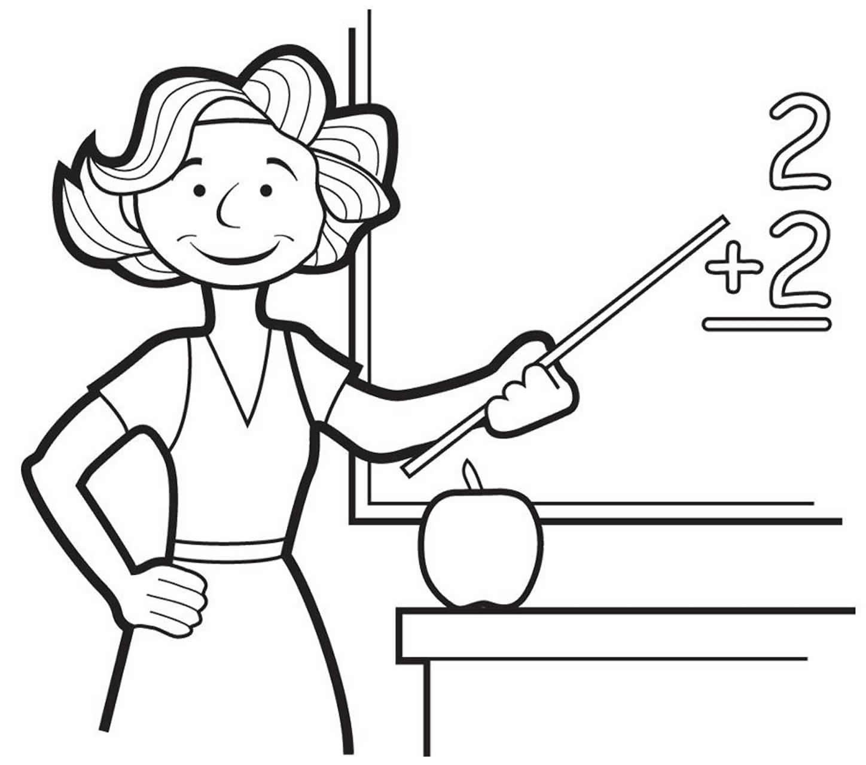 Desenho de professora para pintar