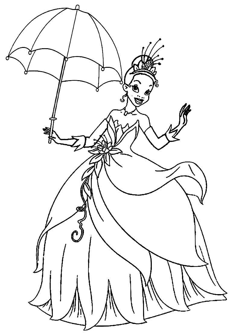 Imagem da Princesa Tiana para pintar