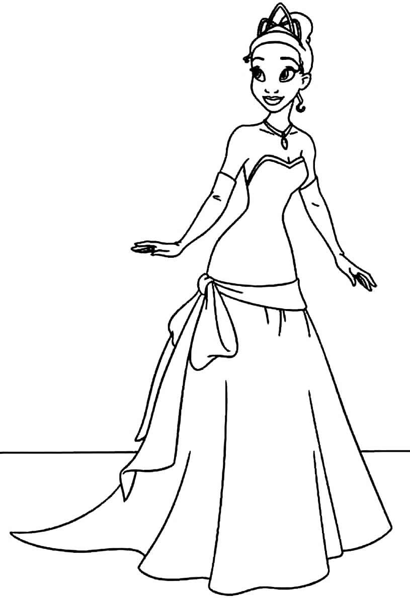 Desenho para colorir da Princesa Tiana