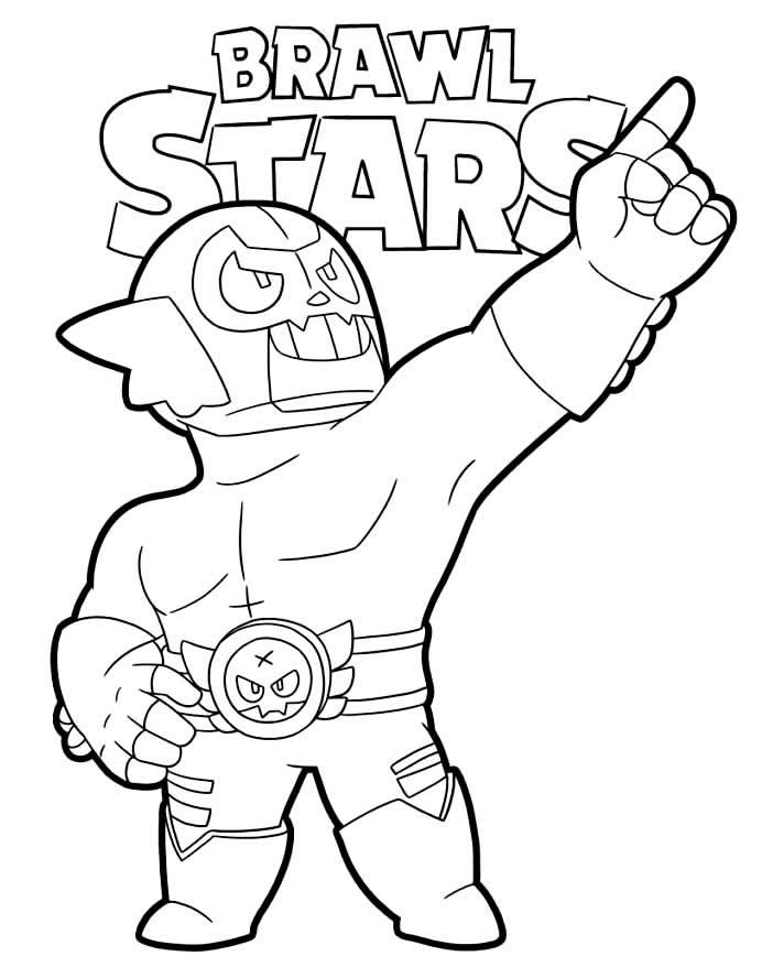 Desenho de El Primo do Brawl Stars para pintar