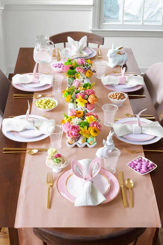 Decoração linda para mesa de Páscoa