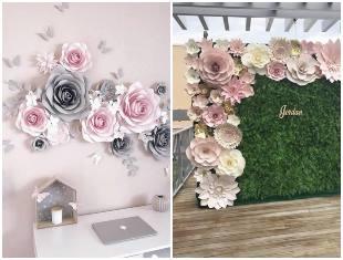 Decoração de flores de papel com moldes