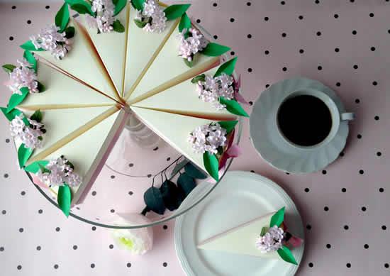 Molde simples de caixinha fatia de bolo
