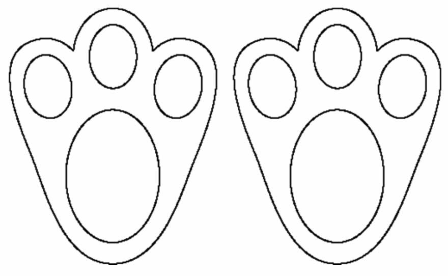 Moldes para pegada de coelhinho da Páscoa