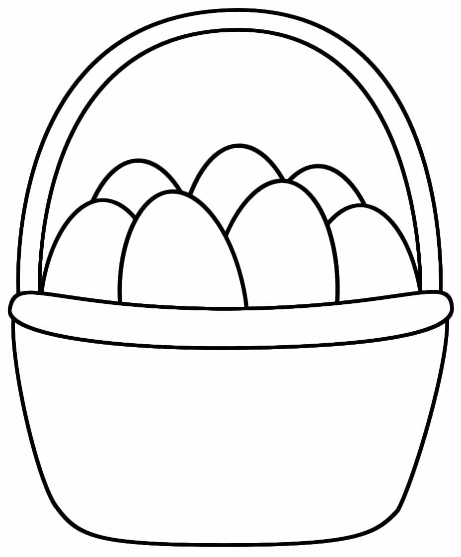 Desenho de Cesta de Páscoa para pintar