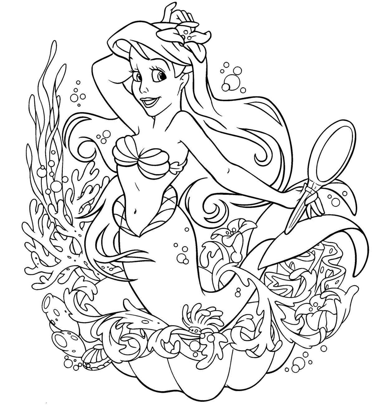 Desenho da Princesa Ariel para pintar