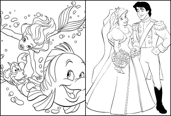 Desenhos da Princesa Ariel para colorir