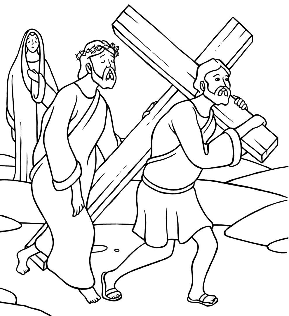 Desenho da Via Sacra para colorir