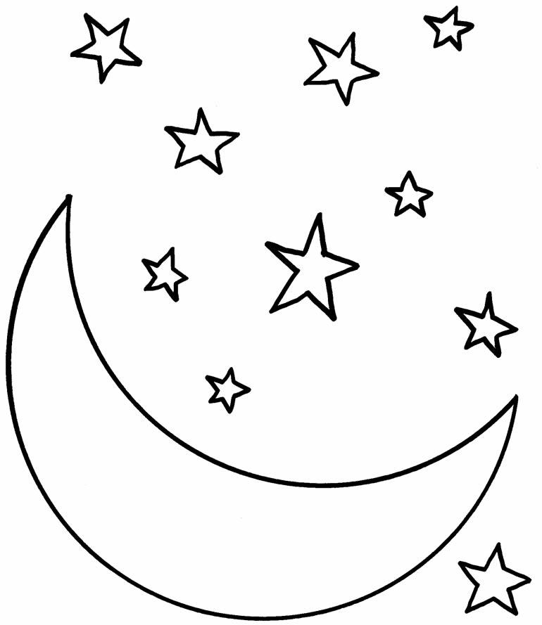 Desenho de lua e estrela para pintar