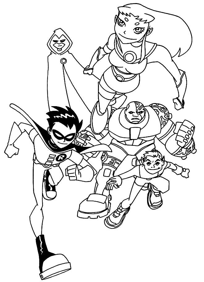 Desenho dos Jovens Titãs para pintar
