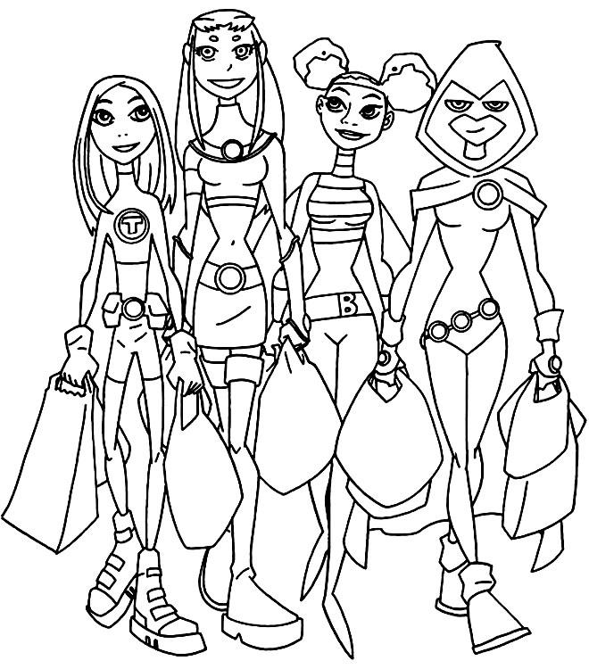 Desenho dos Jovens Titãs para colorir