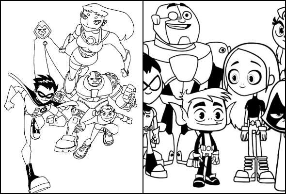 Desenhos dos Jovens Titãs para colorir