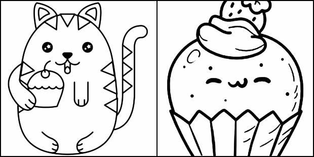 Desenhos de Kawaii para imprimir e colorir