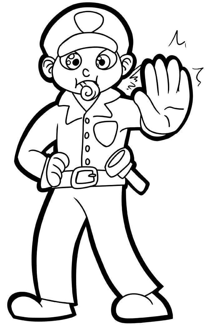 Desenho de policial para pintar