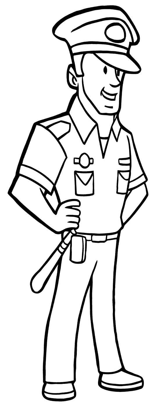 Imagem de policial para colorir