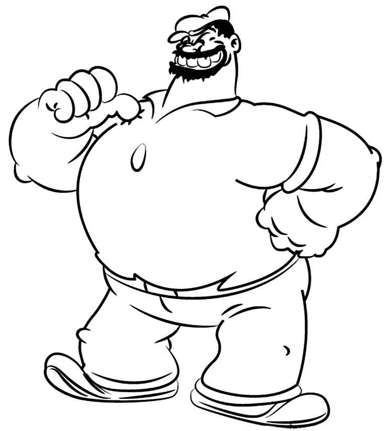 Desenho de Popeye para pintar
