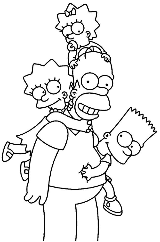 Molde dos Simpsons para colorir