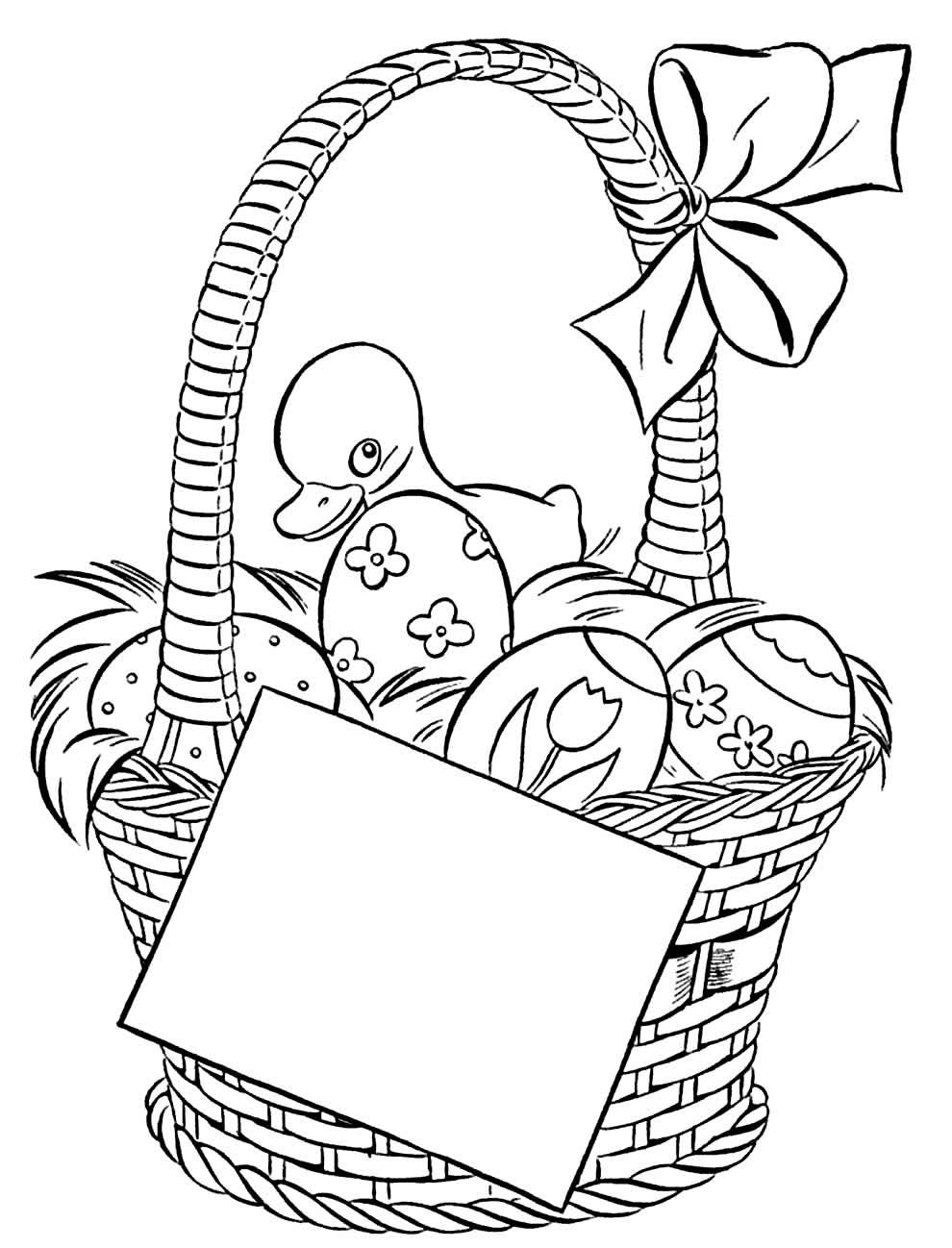 Desenho de cesta de Páscoa
