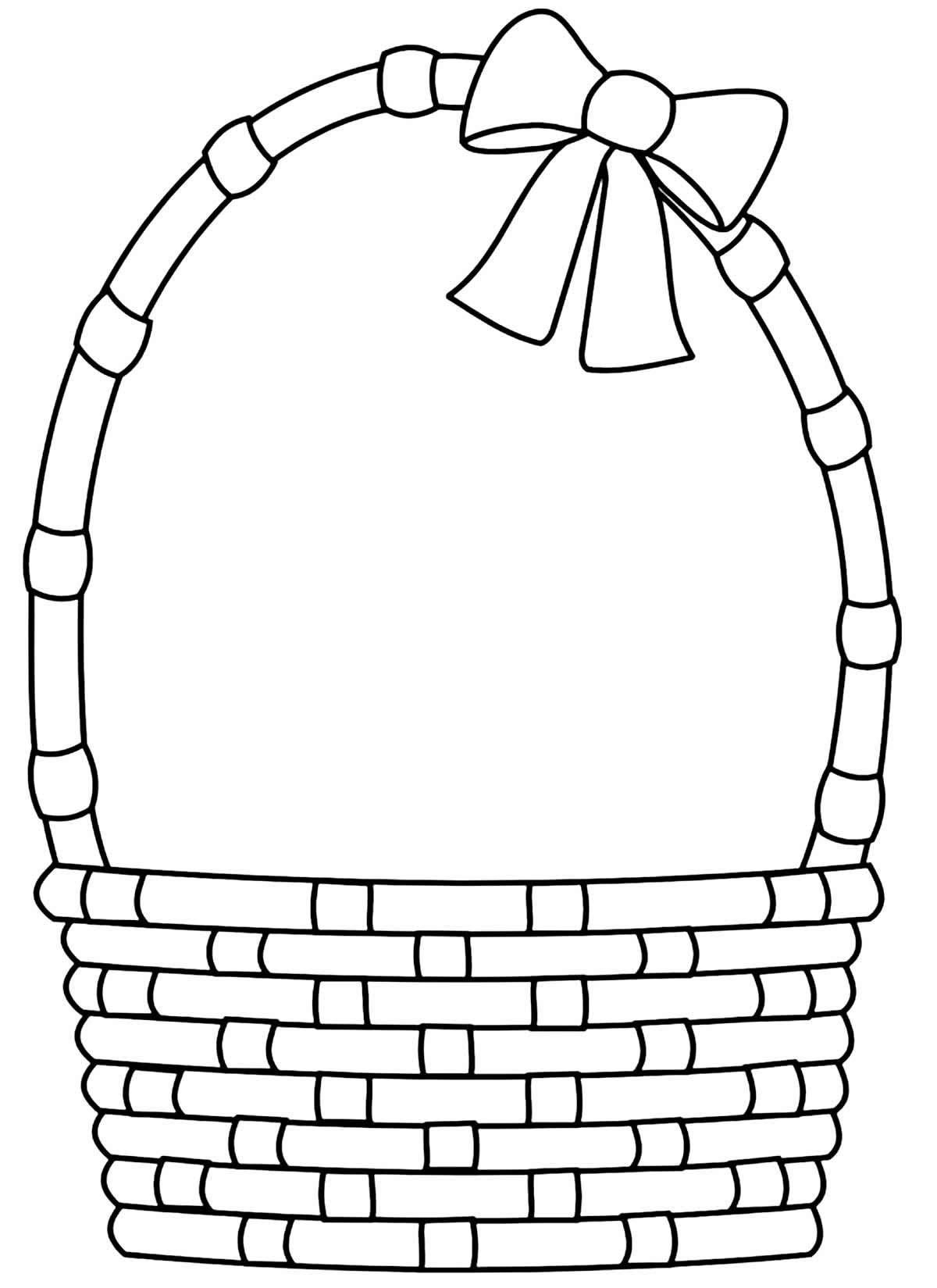 Desenho para pintar de cesta de Páscoa