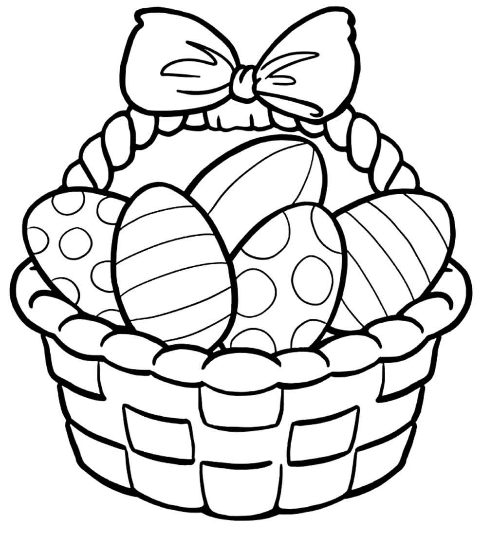 Imagem para colorir de cesta de Páscoa