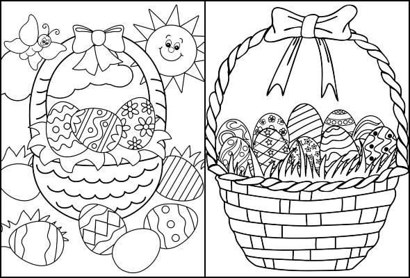 Desenhos de Cestas de Páscoa para colorir
