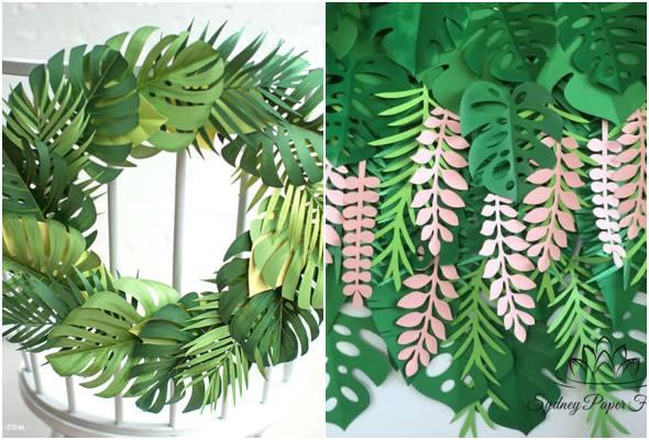 Moldes lindos de folhas para festa tropical