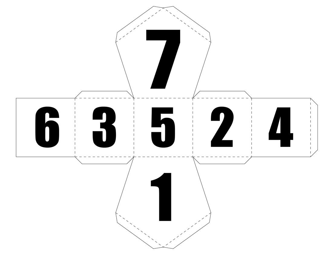 Molde de dado para imprimir - 7 lados