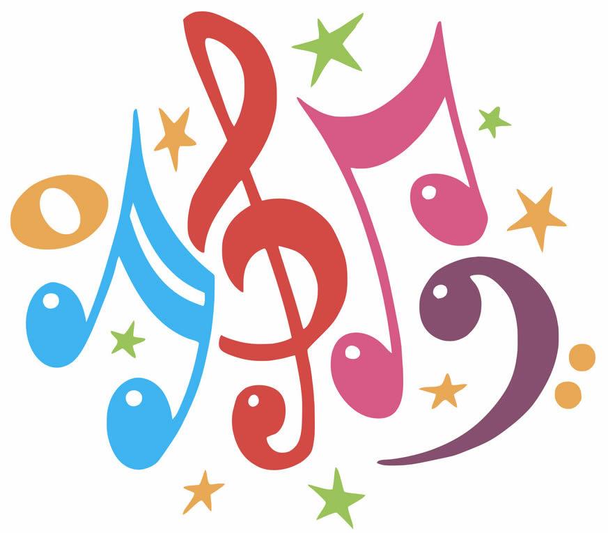 Molde de nota musical colorido