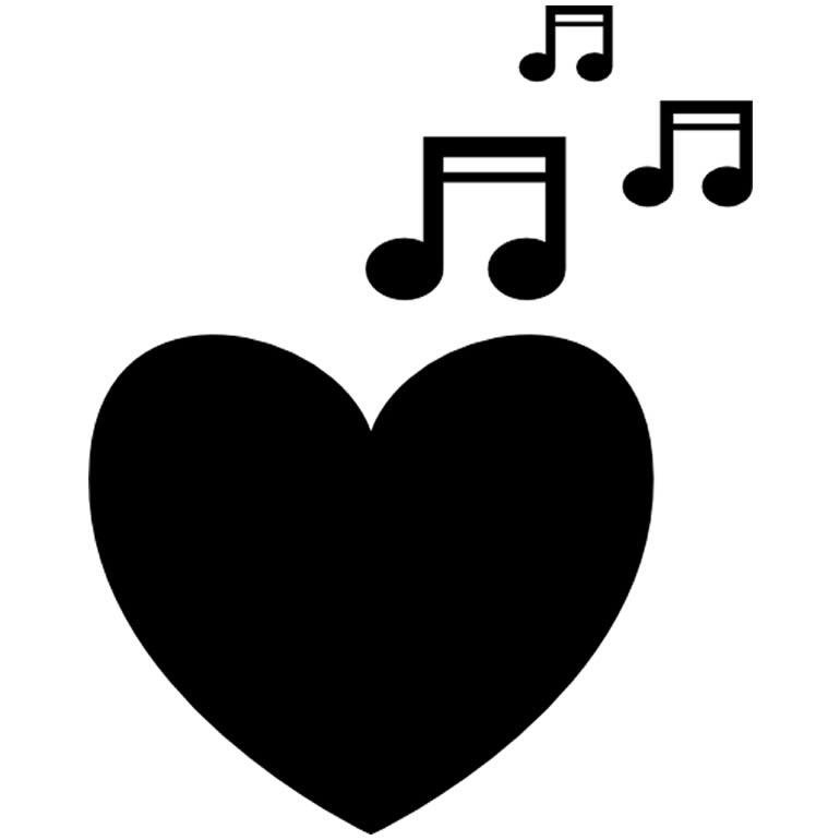 Molde de nota musical com coração
