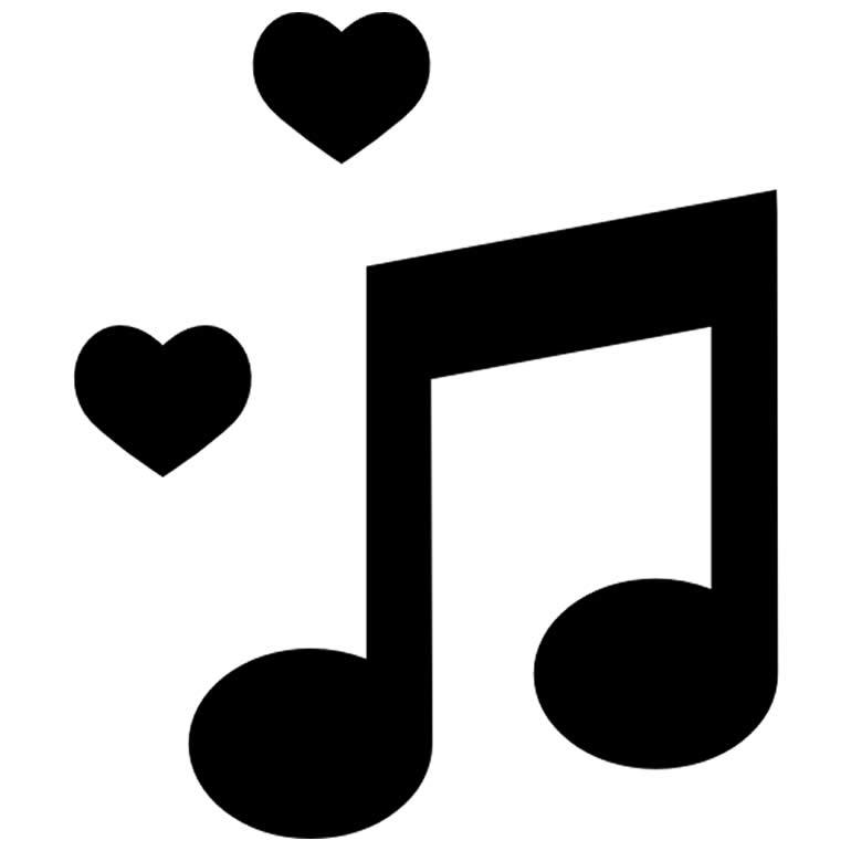 Molde de nota musical com corações
