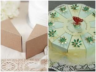 Caixinha de papel fatia de bolo com molde