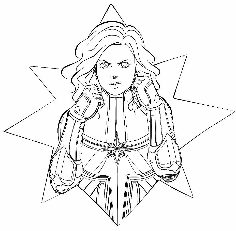 Desenho da Capitã Marvel para colorir