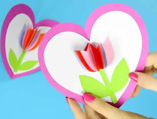 Cartão com flor 3D para o Dia das Mães