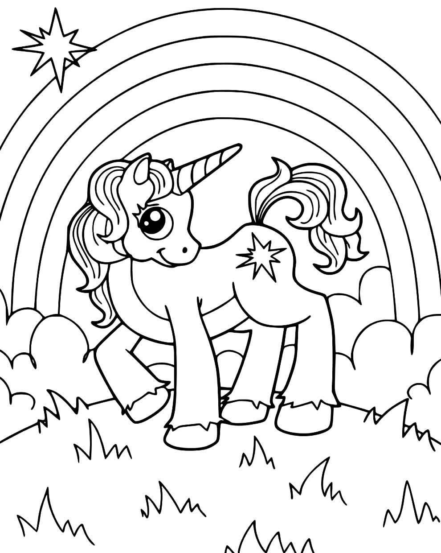 Desenho para pintar de arco-íris