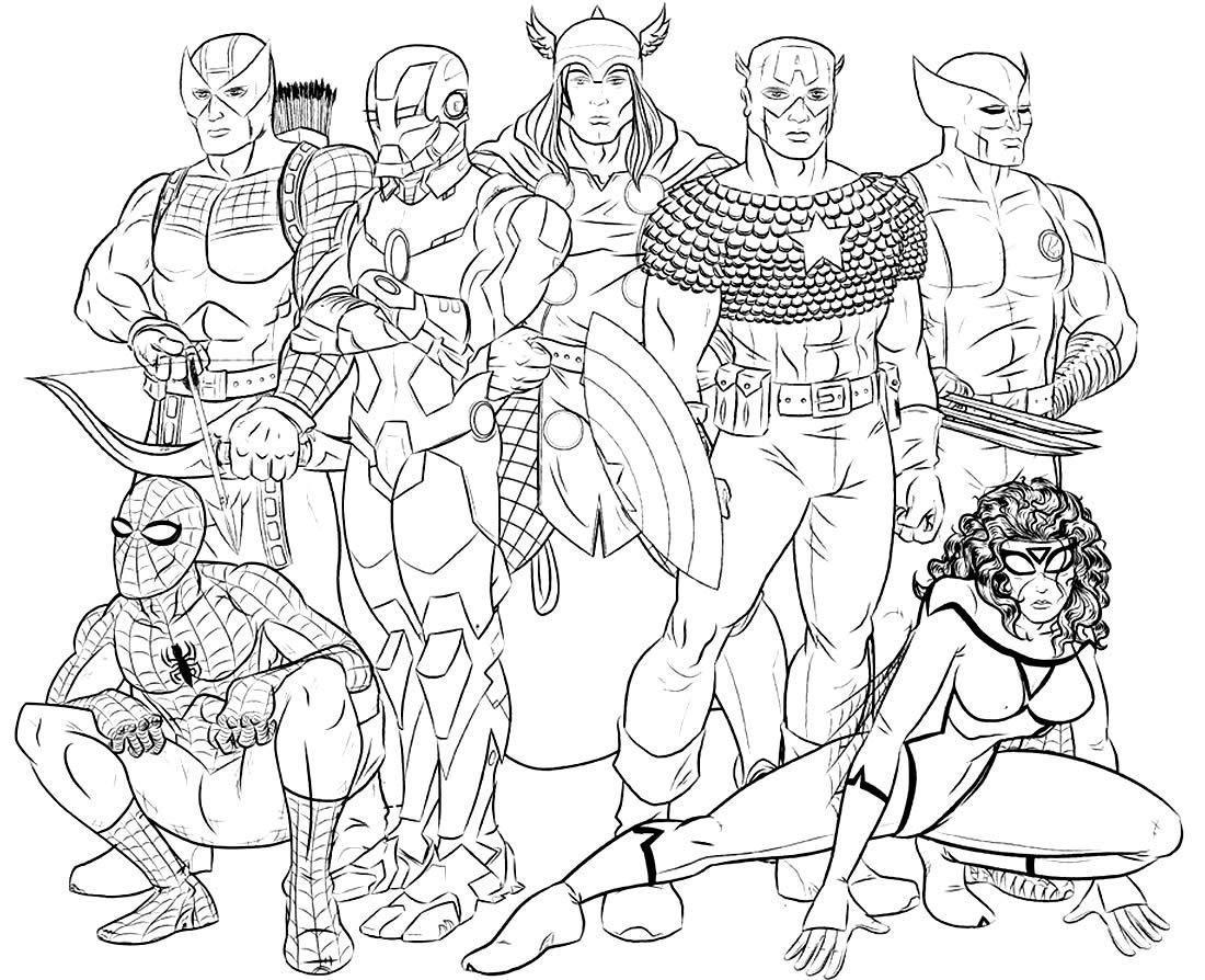 Desenho dos Vingadores para colorir