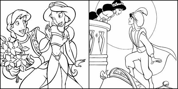 Desenhos de Aladdin para colorir