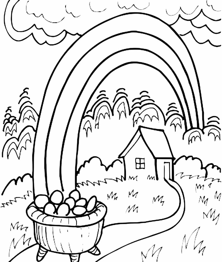 Lindo desenho com arco-íris para colorir