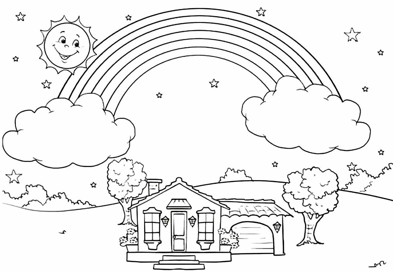 Desenho de arco-íris para colorir