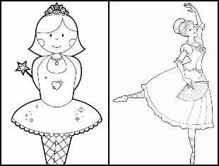 Desenhos de bailarina para imprimir e colorir