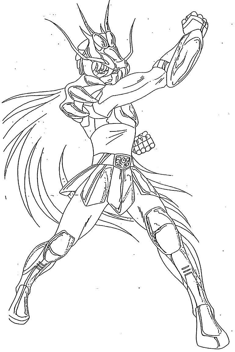 Desenho dos Cavaleiros do Zodíaco para pintar