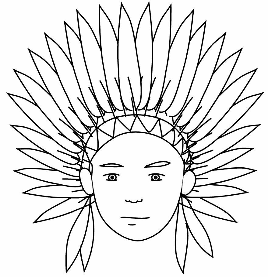 Desenho de índio para pintar