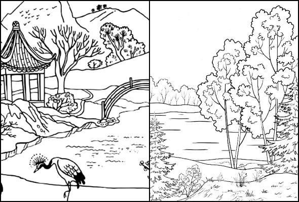 Desenhos de paisagem para colorir