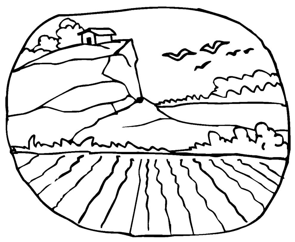 Desenho de paisagem para pintar