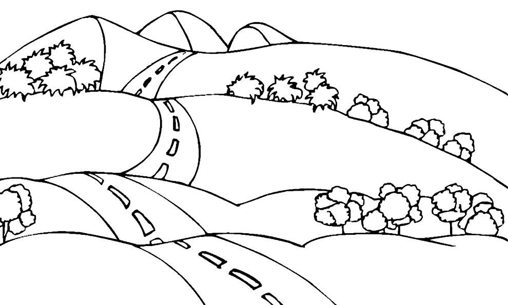 Imagem de paisagem para colorir