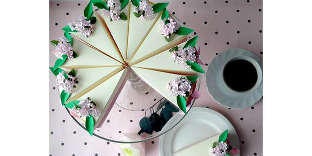 Caixa fatia de bolo com molde